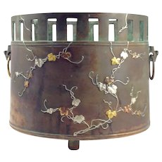 OLD ANTIQUE Japanese Mixed-Metal (24kt GOLD, STERLING, Copper, Bronze) Tea Ceremony Hibachi--RARE