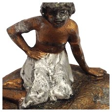 Antique Austrian Cold Painted Bronze-Girl on Pin Tray