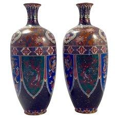 Antique Japanese Meiji Period Cloisonne Vases-Large with Ho Ho/Fenghuang Birds