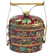 Antique Chinese Cloisonné Tiffin in Gold