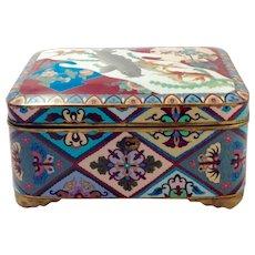 RARE Antique LARGE Japanese Meiji Period Cloisonné Box