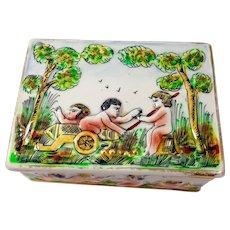 Antique (c. 1771-1834) Capodimonte or Capo-Di-Monte Large Trinket Box with Cherubs