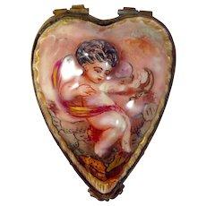 Antique (c.1771-1834) Capo-Di-Monte or Capodimonte Trinket Box with Cherub