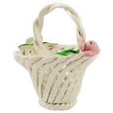 Antique (c. 1771-1834), French, Capodimonte or Capo-Di-Monte Style Small Woven Basket