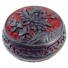 Genuine Cinnabar and Black Lacquer Tea or Trinket Box