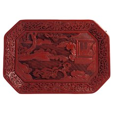 Antique c.19th Century Chinese Cinnabar Lacquer Decorative Tray