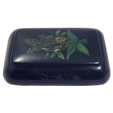 Antique 19th Century French Hand Painted Papier Mache Snuff Box