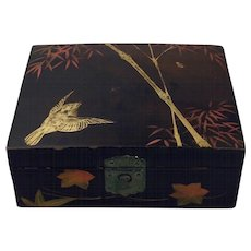 Late 19th Century Japanese Lacquer Hand Painted Keepsake Box with Lock