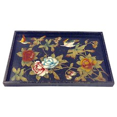 Antique Asian Hand Painted Papier-Mache Tray