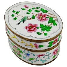 Chinese Enameled Hand Painted Trinket or Tea Box