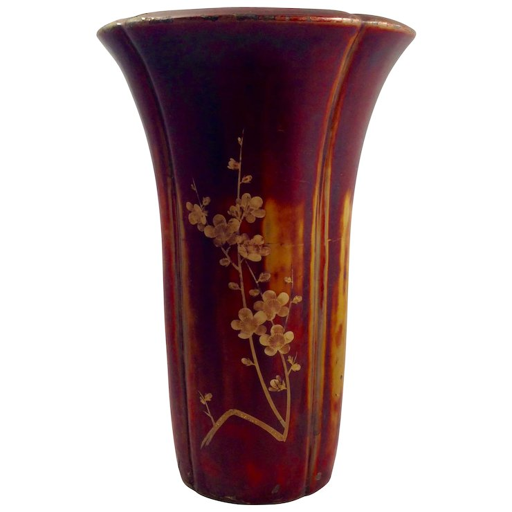 Large Maruni Lacquerware Vase Hand Made In Occupied Japan Red Tag