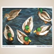 20th Century Artist: Virginia Wright-Frierson, Oil on Canvas: Mallard Formation