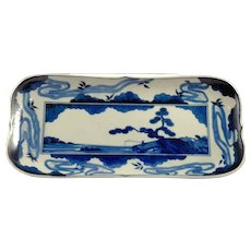 Antique Japanese Blue and White Porcelain Tray or Dish
