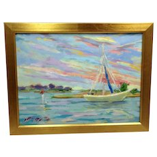 20th Century Artist: Jodie Wrenn Rippy, Original Oil Painting: Banks Channel Sunrise Sail