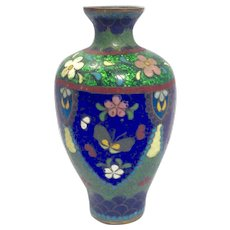 19th Century Japanese, Early Meiji Period (1868-1912) Cloisonné Vase-Beautiful Floral Design