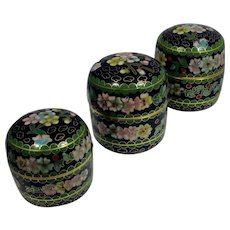 Chinese Cloisonné Round Boxes (3 in Set)