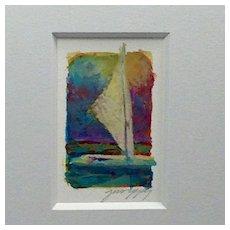"20th Century Artist: Jodie Wrenn Rippy, Original Gouache Painting, ""Lonesome Sailor"""