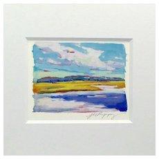 "20th Century Artist: Jodie Wrenn Rippy, Original Gouache Painting, ""Atlantic Marsh"""