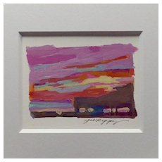 "20th Century Artist: Jodie Wrenn Rippy, Original Gouache Painting, ""Wrightsville Beach Sunrise"""