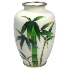Fine Elegant 19th Century Japanese White Cloisonné Vase Featuring Bamboo
