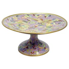 Chinese Large Bronze Cloisonné Footed Dish