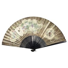 Antique Asian Hand Painted Wood on Rice Paper Lady's Fan