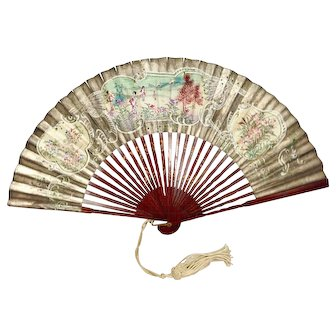 Antique Hand Painted Fan with Silk Tassle