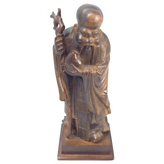 Vintage Chinese Immortal Figure-Hand Carved Wood