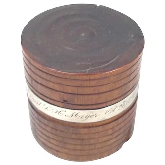 Antique Hand Turned Wood Box with Sterling Silver, Inscription: October 24, 1897