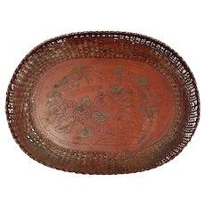 Antique Japanese Meiji Woven Metal Tray