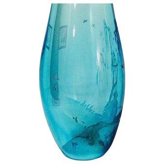 Art Deco Etched Glass Vase, Signed