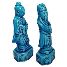 Chinese Export Turquoise Immortal Statuettes