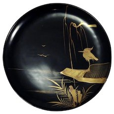 Vintage Japanese Black Lacquer Plate with Golden Scenery