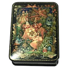 Vintage Russian Black Lacquer Papier Mache Trinket Box
