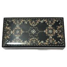 Vintage Russian Black Lacquer Papier Mache Glove Box