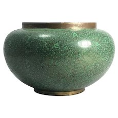 Antique Chinese Green Cloisonne Bowl