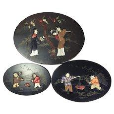 Antique Japanese Set of Three Oval Black Lacquer Papier Mache Nesting Boxes