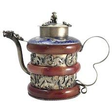 Antique Chinese Cloisonne & Jade Miniature Tea Pot