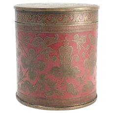 Antique Asian Bronze and Copper Red Enamel Cylindrical Covered Box or Jar