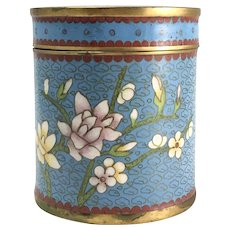 Antique Chinese Cloisonne Blue Cylindrical Covered Box or Jar