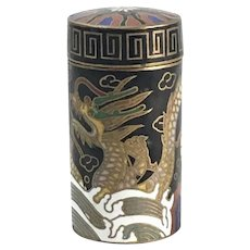Antique Chinese Cloisonne Cylindrical Opium Box