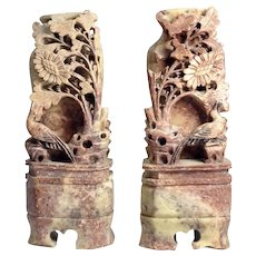 Pair of Antique Chinese Hand Carved Soapstone Book Ends