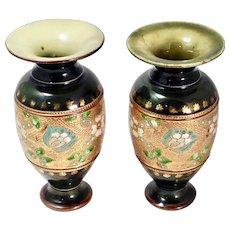 Pair of Antique Royal Doulton Slater's Patent Stoneware Vases