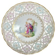 Antique Carl Thieme Reticulated Porcelain Footed Fruit Bowl