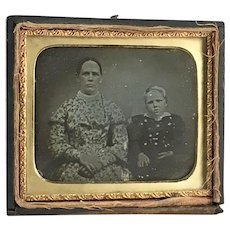 Daguerrotype of Woman and Young Boy