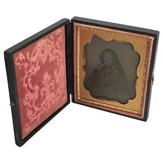 Ambrotype Portrait of a Older Woman with Dark Bonnet/ Veil