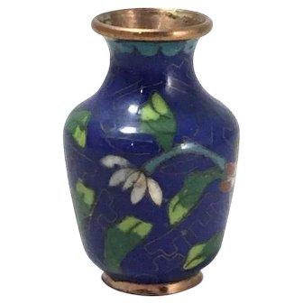 Antique Chinese Tiny Cloisonne Copper Vase