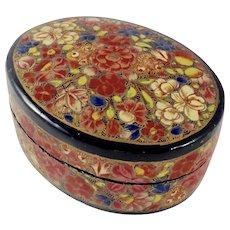 Antique Kashmiri Hand Painted Oval Papier Mache Trinket Box