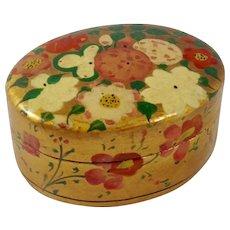 Antique Kashmiri Oval Gold Lacquer Papier Mâché Trinket Box