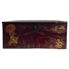 (RARE) Antique Victorian Chinoiserie Papier Mache Biscuits Olibet Storage Container